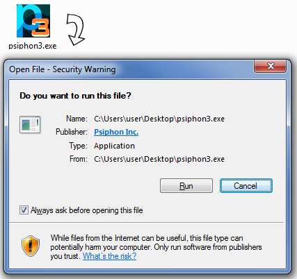 Screenshot showing the Windows security warning for the Psiphon executable